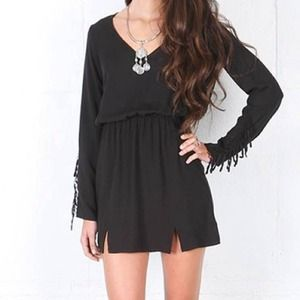 Black long sleeve fringe Navajo mini dress