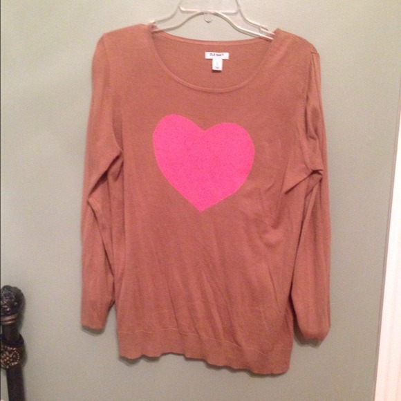 33% off Old Navy Sweaters - 🍗 Old Navy Beige and Pink Heart ...