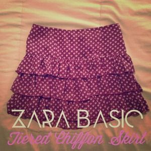 Zara Basic Tiered Ruffle Chiffon Skirt