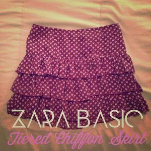 Zara Dresses & Skirts - Zara Basic Tiered Ruffle Chiffon Skirt