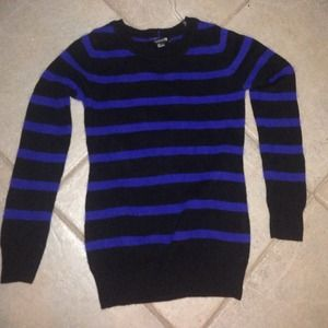 Oversized blue and black striped sweater