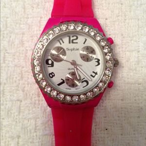 Accessories - Pink Jelly Strap Rhinestone Watch
