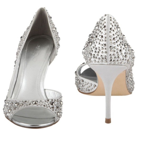 79% off ALDO Shoes - ALDO SPARKLY BLING PEEP TOE SILVER Heels 6.5 ...