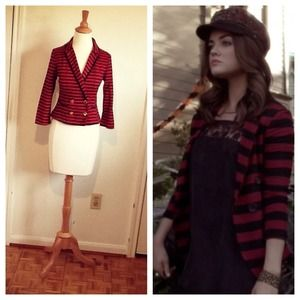 Jackets & Blazers - SALE Preppy Schoolboy Red Black Striped Jacket