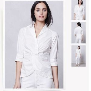 Anthro twist-front white blouse