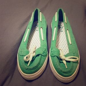 Green cotton Zara flats