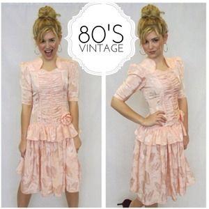 80's Vintage Peplum Peach Silky Drop Waist Dress