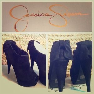 Shoes - Jessica Simpson, Raurie, black suede boot heels