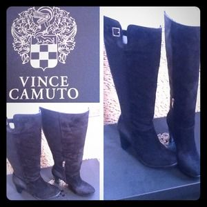 Vince Camuto knee high lanessa black boot suede