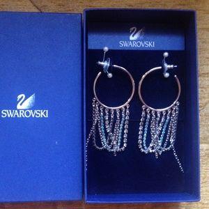 NWT Swarovski Drama hoop Crystal Earrings