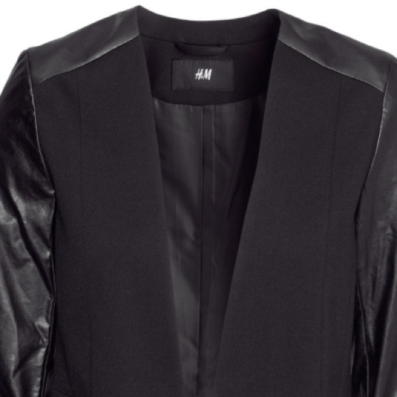 H&m Blazer/faux Leather Sleeve