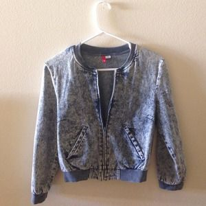 H&M Outerwear - H&M acid wash demin bomber jacket