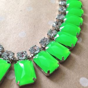 SALE  Neon green sparkle statement necklace
