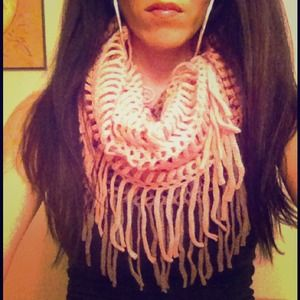 Kristee P Accessories - Gray/Pink Knitted Fringe Infinity Scarf