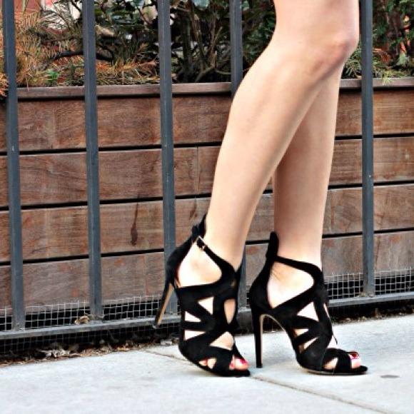 80d698c6df13a Zara Suede Black Cut Out Strappy Sandals 39