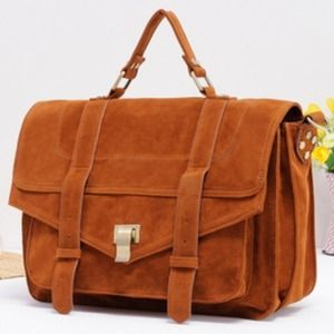 Handbags - Vintage messenger suede bag