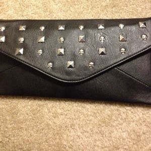 Clutches & Wallets - Black Skull Studded Clutch