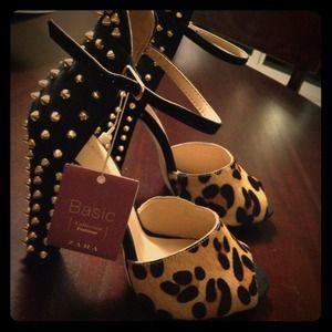 Zara studded leopard print heel