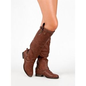 Distressed Knee High Riding Boots