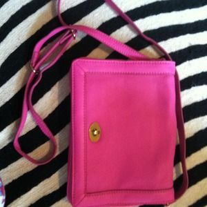 J crew neon pink clutch or cross body bag