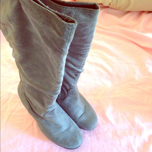 79% off Shoes - LOWEST! Gray suede wide calf boots from Jackie's ...