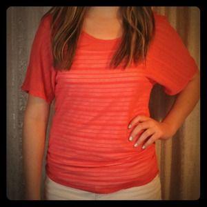 Coral burnout sheer blouse