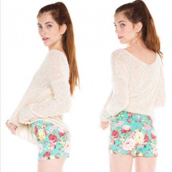 Brandy Melville - Brandy Floral High Waisted Shorts from ...