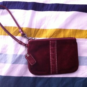 Coach Clutches & Wallets - Maroon suede coach wristlet