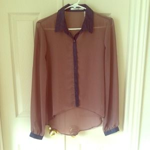 Tops - Beige long-sleeve button down blouse