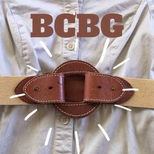 BCBGMaxAzria Accessories - BCBG Cognac Leather & Elastic Belt