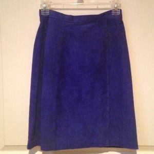 Vintage Suede Leather Skirt Electric Blue