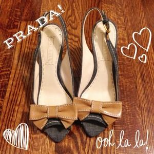 Prada Shoes - 2014 SALE! Prada Denim & Leather Slingback Wedges