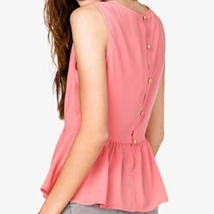 Tops - Coral Back Buttoned Peplum
