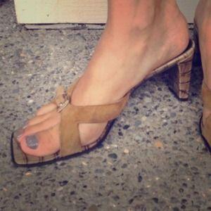 Franco Sarto Shoes - Comfy nude croc slide sandal/leather