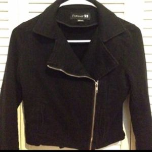 Forever 21 black moto crop jacket