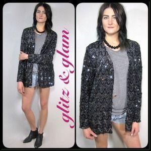 🚫SOLD on website🚫vintage sequin glam jacket