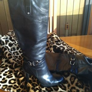 RALPH LAUREN BLACK LEATHER  BOOTS