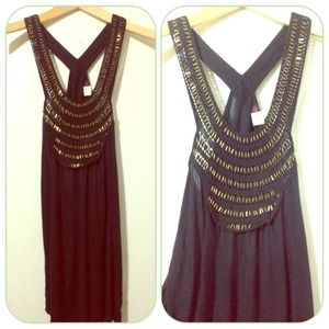 ⚡️Gorgeous black tank with gold beading size L⚡️