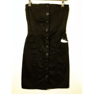 ⚡️Black tube jean dress w stone buttons size M⚡️
