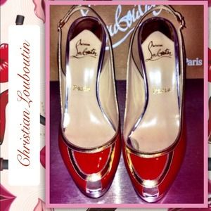  Authentic Louboutin Patent Leather Slingbacks