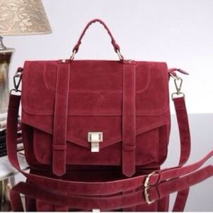 Handbags - Red suede messenger bag