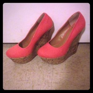 Delicious  Shoes - Coral Wedges