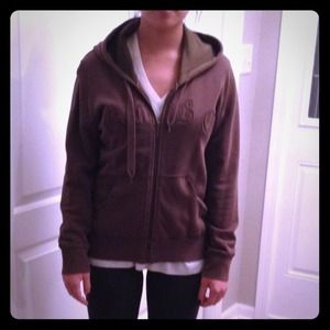 BCBG olive green zip up hoodie