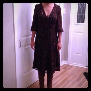 H&M brown paisley print dress
