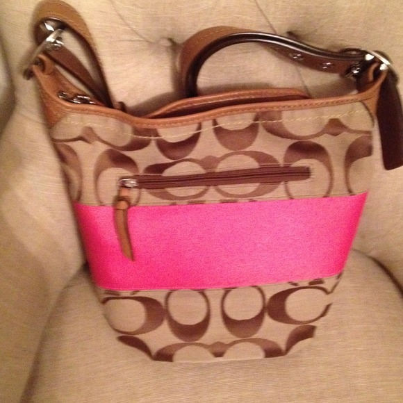 Pink And Tan Coach Purse Tan With Pink Stripe 2 Coach