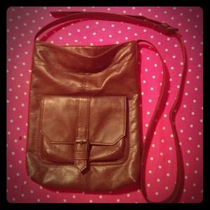 Brown faux leather messenger bag 