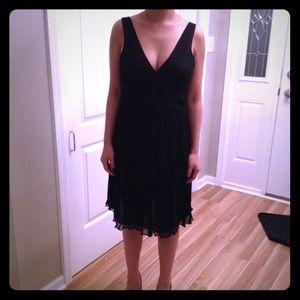 Beautiful black silk chiffon dress w/beaded bodice