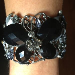 Cuff bracelet with black stones and a lil bling