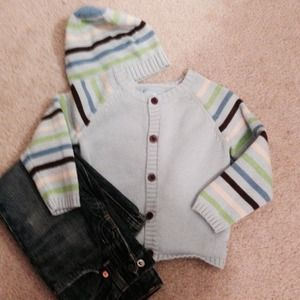 Sweaters - Tiny Tillia button up cardigan with matching beene