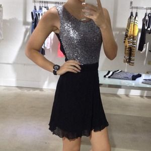 Silver Sequin and Black Dress & Gold Chains Back